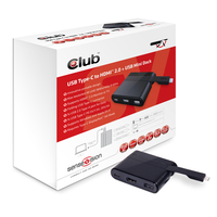 CLUB3D Mini Dock USB Type-C to HDMI2.0 + USB2.0 + USB Type C Charging (Schwarz)