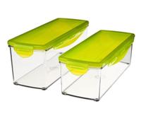 Genius A33501 Rechteckig Box 3.5l Limette 2Stück(e) Lebensmittelaufbewahrungsbehälter (Limette, Transparent)
