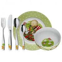 WMF Kinderset 6-teilig Pitzelpatz (Grün, Mehrfarben, Edelstahl, Weiß)