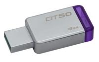 Kingston Technology DataTraveler 50 8GB 8GB USB 3.0 (3.1 Gen 1) Type-A Violett, Silber USB-Stick (Violett, Silber)