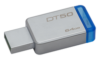 Kingston Technology DataTraveler 50 64GB 64GB USB 3.0 (3.1 Gen 1) Type-A Blau, Silber USB-Stick (Blau, Silber)