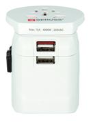 Skross PRO Light USB Universal Universal Weiß Netzstecker-Adapter (Weiß)