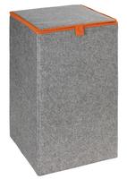 WENKO 3440401100 Wäschekorb (Grau, Orange)