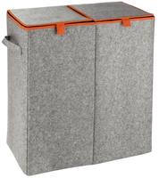 WENKO 3440402100 Wäschekorb (Grau, Orange)