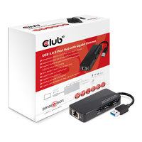 CLUB3D USB 3.0 3-Port Hub with Gigabit Ethernet (Schwarz)