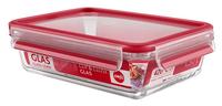 EMSA CLIP & CLOSE Glas Rechteckig Box 1.3l Rot 1Stück(e) (Rot, Transparent)