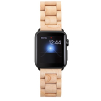 Woodcessories ECO148 Band Maple colour, Silber Holz Smartwatch-Zubehör (Maple colour, Silber)