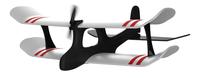 TobyRich Moskito Radio-Controlled (RC) biplane (Schwarz, Rot, Weiß)