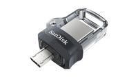 Sandisk Ultra Dual m3.0 256GB 3.0 (3.1 Gen 1) USB-Anschluss Typ A Schwarz, Silber, Transparent USB-Stick (Schwarz, Silber, Transparent)