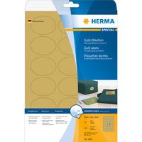 HERMA Etiketten A4 58.4x42.3 mm gold oval Folie glänzend 450 St. (Gold)