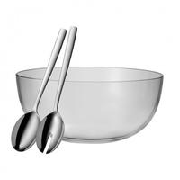 WMF Taverno Salat-Set Salatschüssel Rund Glas, Edelstahl Edelstahl 1Stück(e) (Edelstahl, Transparent)