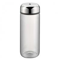 WMF Basic 500ml Glas, Kunststoff, Silikon Grau, Edelstahl Trinkflasche (Grau, Edelstahl, Transparent)