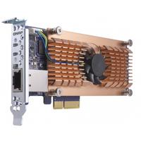QNAP QM2-2P10G1T Eingebaut PCIe,RJ-45 Schnittstellenkarte/Adapter (Schwarz, Braun, Edelstahl)
