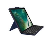 Logitech Slim Combo Smart Connector QWERTZ Deutsch Blau Tastatur für Mobilgeräte (Blau)
