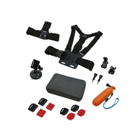 Rollei 21642 Universal Kameraausrüstung Zubehör für Actionkameras (Schwarz, Orange, Rot)