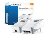 Devolo dLAN 1200 triple+ Starter Kit 1200Mbit/s Eingebauter Ethernet-Anschluss WLAN Schwarz 2Stück(e) PowerLine Netzwerkadapter (Schwarz)