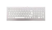 CHERRY STRAIT 3.0 USB QWERTZ Deutsch Silber, Weiß (Silber, Weiß)