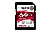 Kingston Technology SD Canvas React 64GB SDXC UHS-I Klasse 10 Speicherkarte (Schwarz)