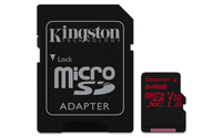 Kingston Technology Canvas React 64GB MicroSDXC UHS-I Klasse 10 Speicherkarte (Schwarz, Rot)