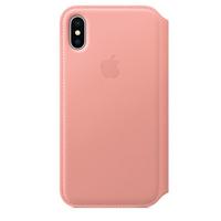 Apple iPhone X Leder Folio Zartrosa (Rosa-Goldfarben)